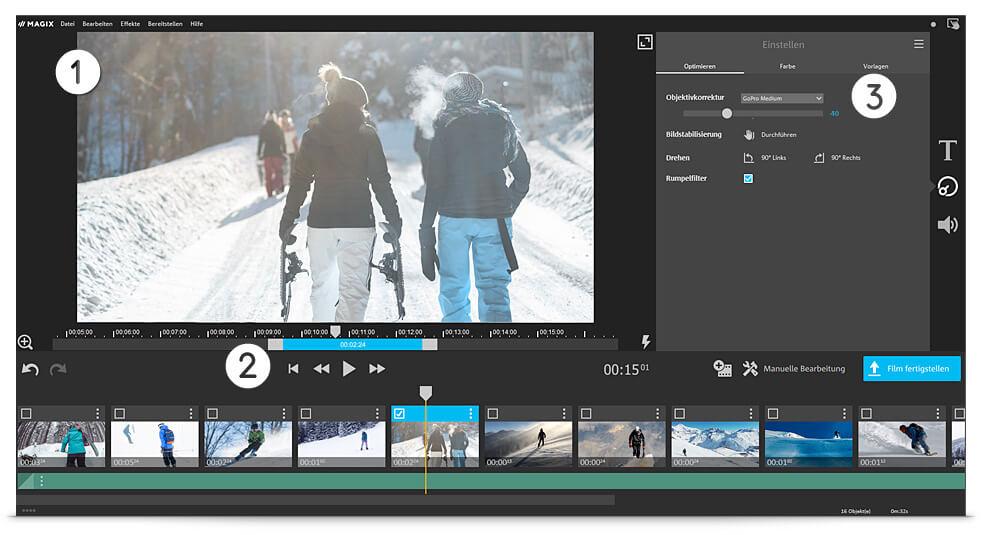 Benutzeroberfläche der kostenlosen Actioncam-Software
