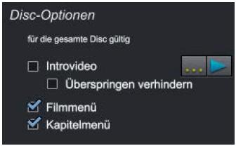 DVD Menü erstellen Disc Optionen