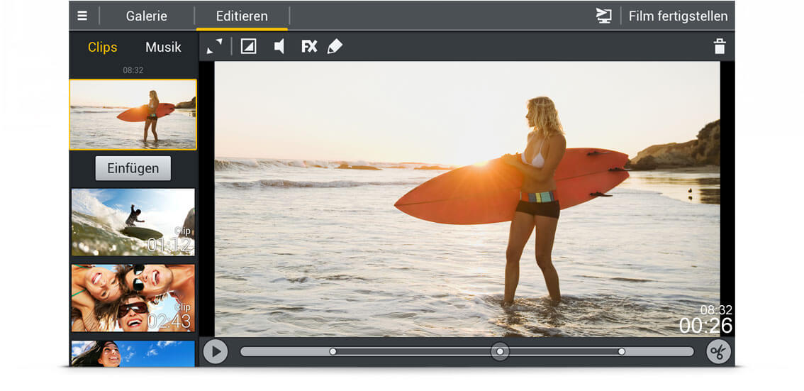 Movie Edit Touch Android Screen