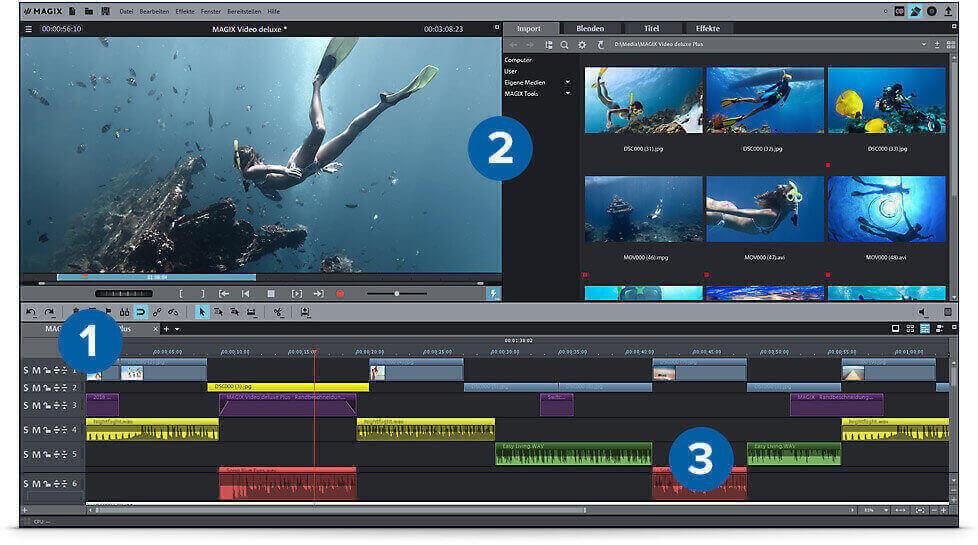 Benutzeroberfläche zum Videos bearbeiten mit Video deluxe Plus