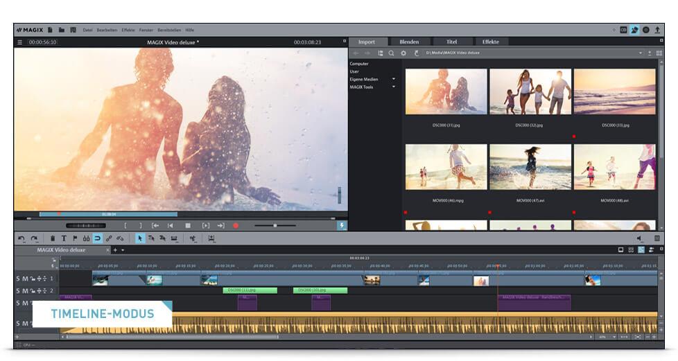 Benutzeroberfläche des Videobearbeitungsprogramm Video Deluxe