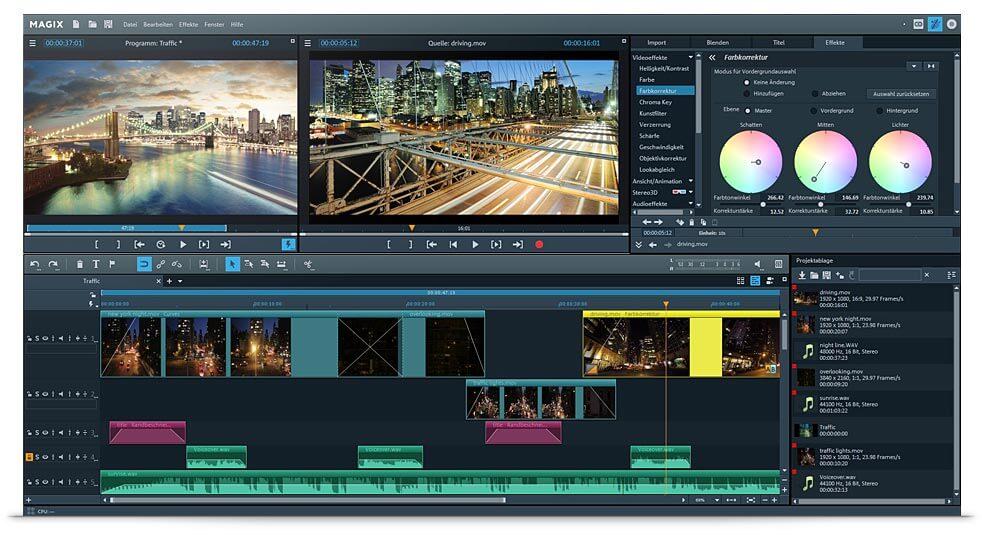 Benutzeroberfläche der professionellen Videobearbeitungssoftware